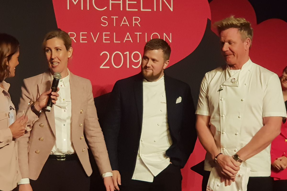 Clare Smyth of Core receives two Michelin stars for her Notting Hill restaurant from mentor Gordon Ramsay at the Michelin Guide Revelation 1 October 2018