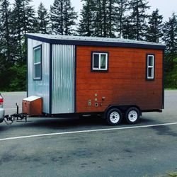 Ivor's tiny house, named Tad Cooper, is hitched up and ready for the road.