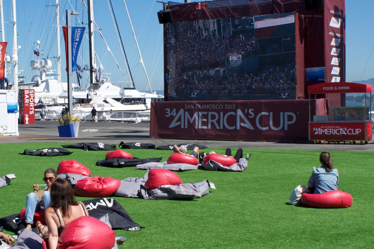 Head to Piers 27/29 to pick up your limited edition America's Cup swag, and then watch the races for free on the giant screen.