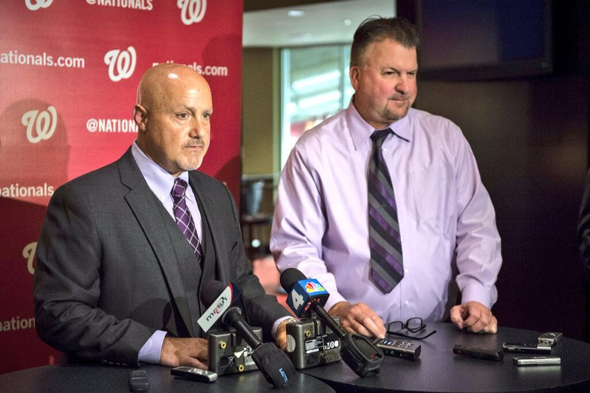 Washington Nationals' GM Mike Rizzo and Asst. GM and VP of Scouting Ops Kris Kline talk to the media.