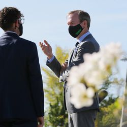 Veteran Chris Goehner, left, talks with Rep. Ben McAdams, D-Utah, after a press conference at the Military Services Monument in West Jordan's Veterans Memorial Park on Monday, Sept. 28, 2020. During the press conference, McAdams discussed his bipartisan bill to prevent veteran suicides. The bill, which studies the connection between living in high-altitudes and rates of suicide, passed in the House and will now go to the president for his signature.