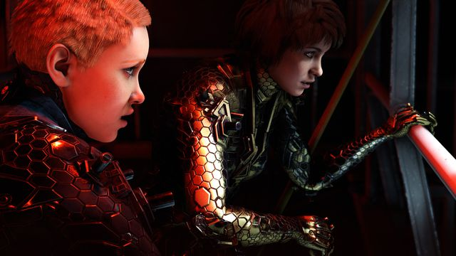 Wolfenstein: Youngblood - Jessica and Sophia Blazkowicz looking out of a zeppelin