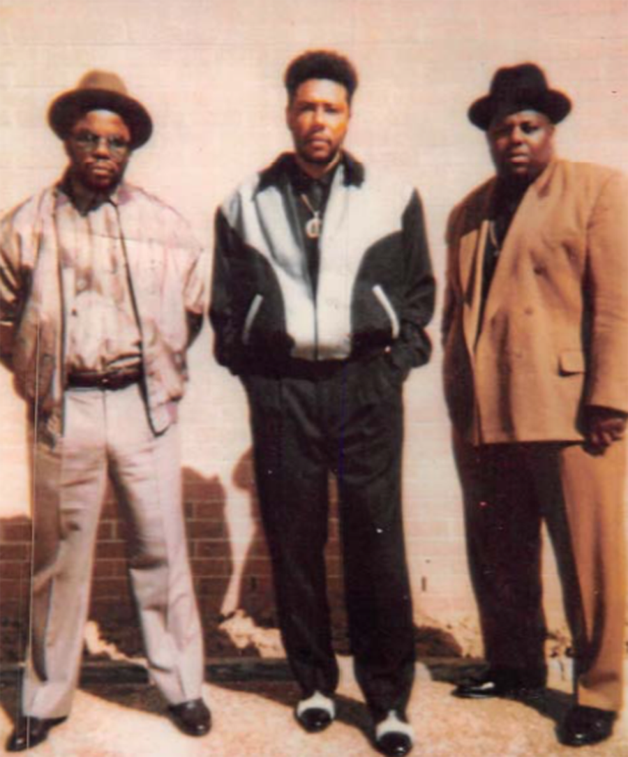 Gangster Disciples co-founder Larry Hoover (center) with top gang lieutenant Gregory Shell (left) and gang associate Keith McCain.