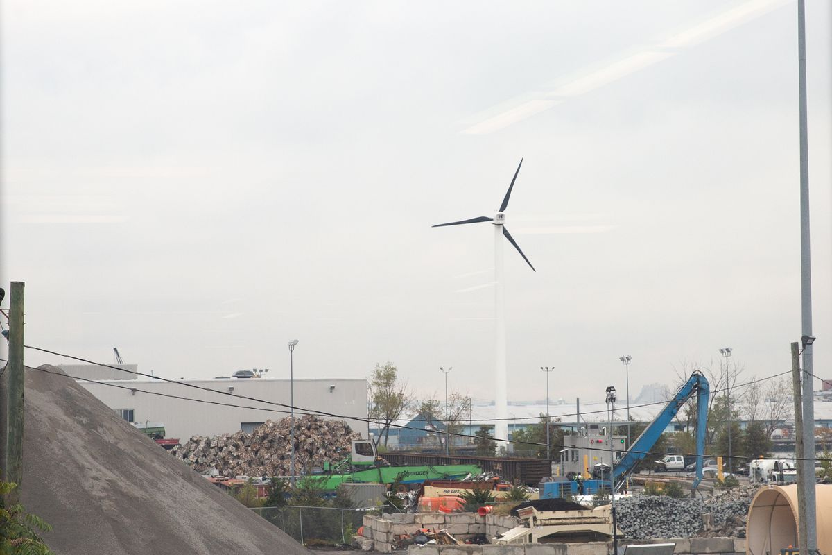 A wind turbine in Sunset Park, Brooklyn, Oct. 28, 2020.