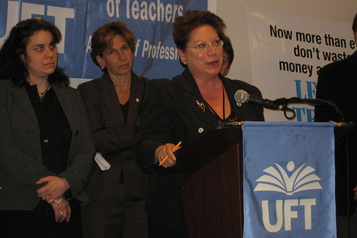 Members of the Absent Teacher Reserve pool who did extensive job searches spoke at a press conference with then teachers union President Randi Weingarten at the start of the school year in 2009. (GothamSchools)