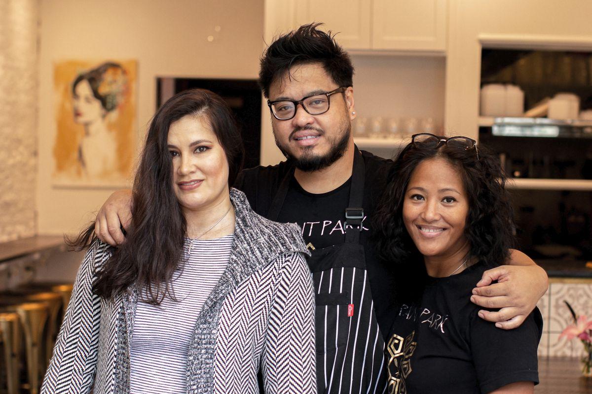 Left to right: Estrellita Filipino restaurant owners Hope Webb, Walter Cortado, and Blesseda Gamble