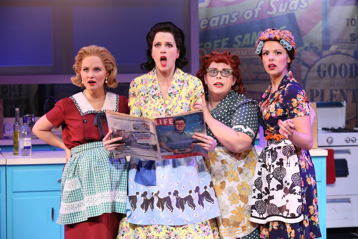 """""""A Taste of Things to Come"""" (pictured from the Off Broadway production) is set entirely in a kitchen, where housewives dish about life, love and culinary delicacies such as Lime Tuna Jell-O Salad and Spam Casserole. 