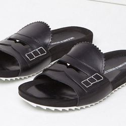 """Band of Outsiders loafer slides, <A href=""""http://www.lagarconne.com/store/item.htm?itemid=29160&sid=2647&utm_source=polyvore&utm_medium=cpc&utm_term=loafers%20%26%20moccasins&utm_campaign=fw13pv""""target=""""_blank"""">$295</a>."""