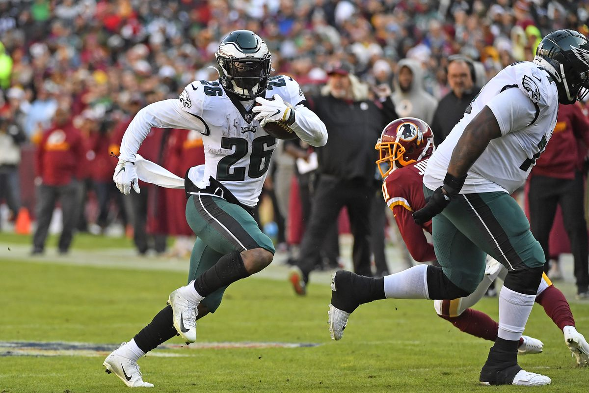 Philadelphia Eagles running back Miles Sanders rushes the ball against Washington during the first half at FedExField.