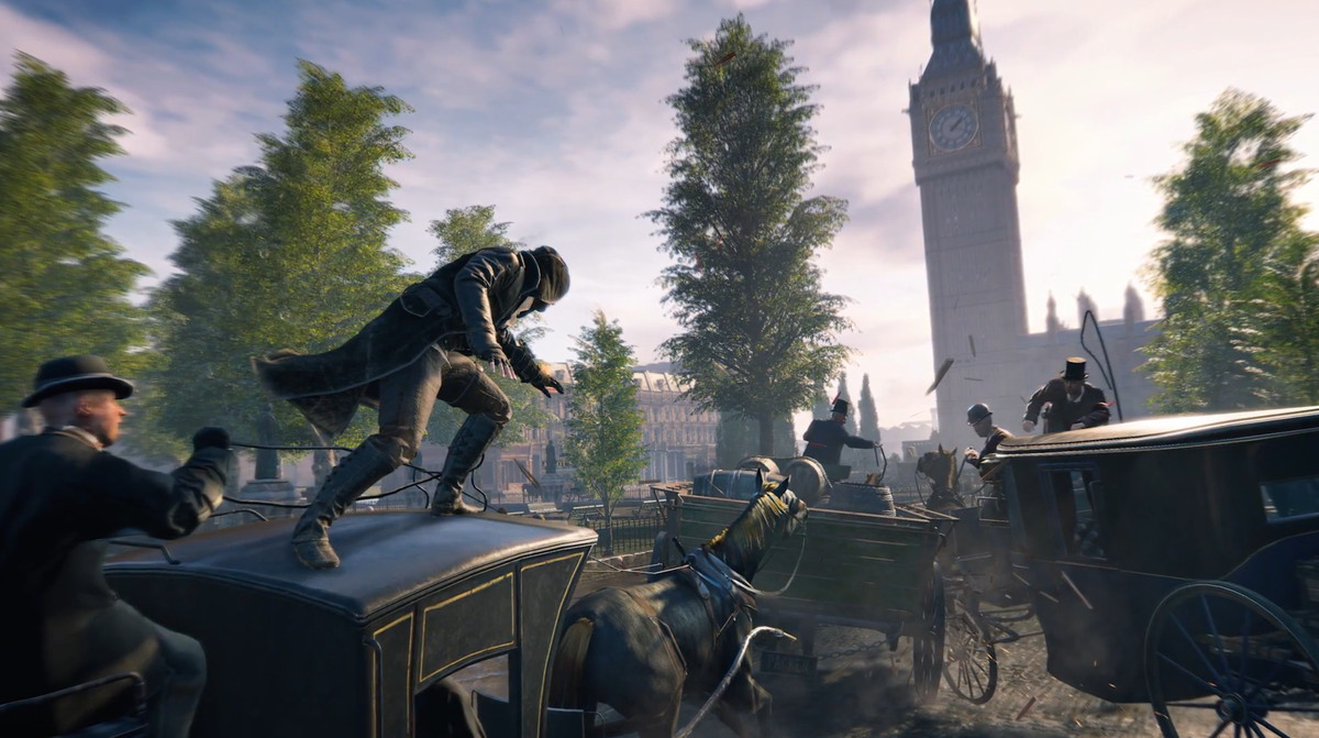 Assassin's Creed Syndicate - Jacob Frye standing atop a moving carriage