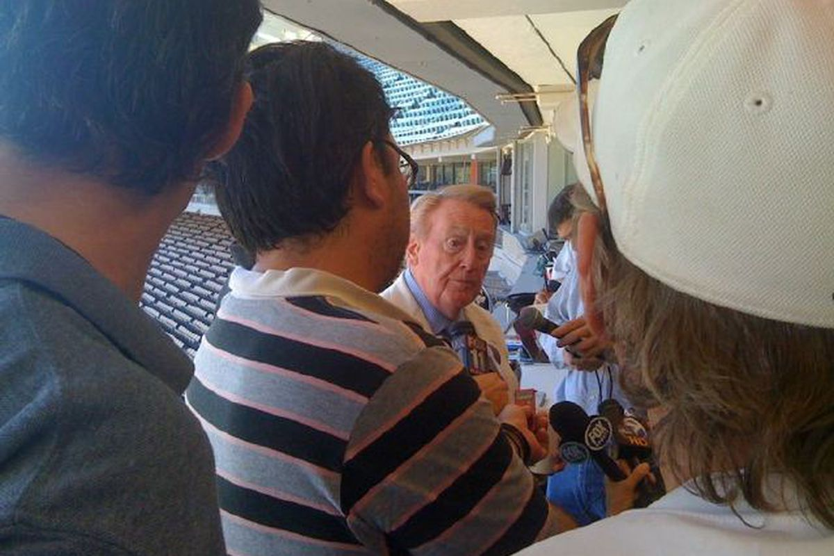 Vin Scully, addressing the media on the day of the announcement of his return for the 2011 season.