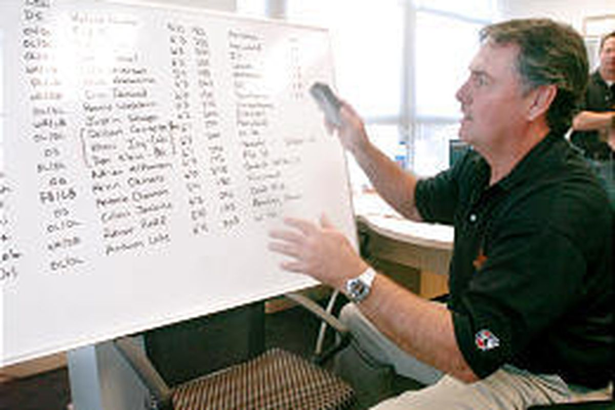 Blaze head coach and general manager Danny White looks over a chart of potential draft picks Monday.