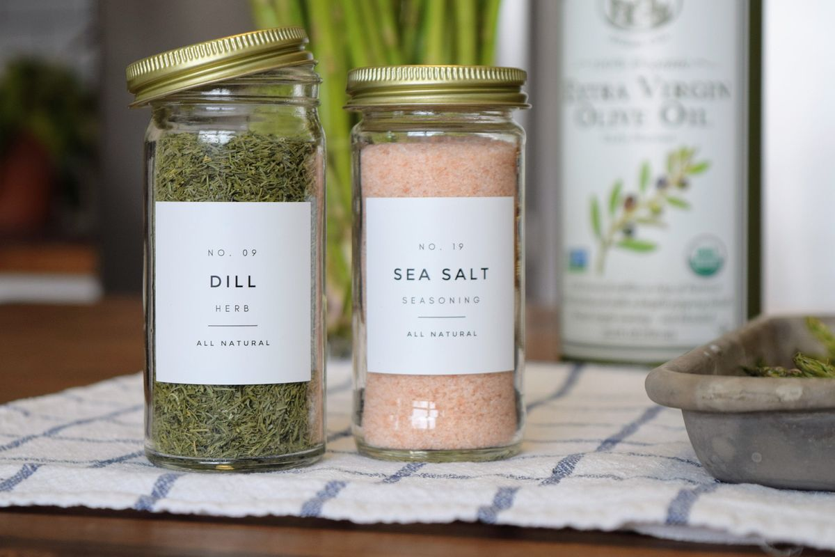 One dill and one sea salt spice container