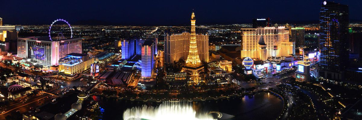 A view of the Bellagio from Paris Las Vegas