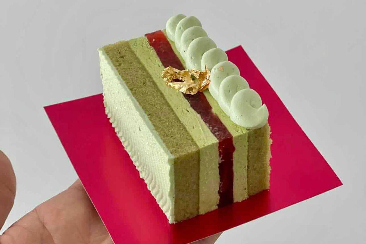 Raymie Fuentes's strawberry-matcha cake