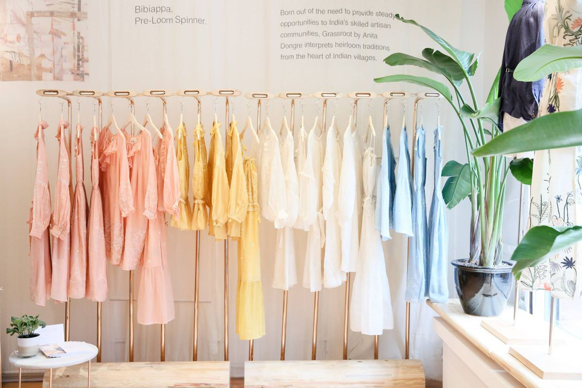 A colorful rack of clothing