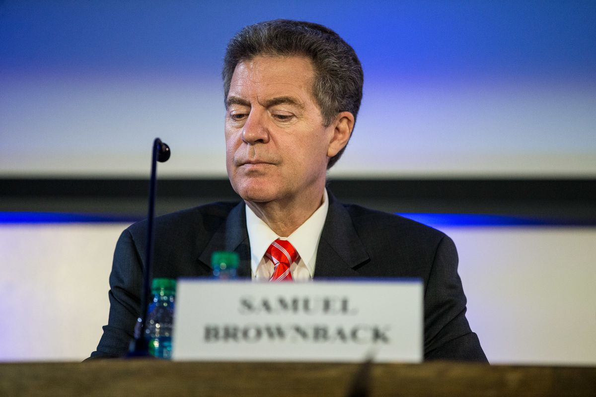 Ambassador Sam Brownback delivers a speech about religious freedown during the 25th annual International Law and Religion Symposium at in Salt Lake City on Monday, Oct. 8, 2018.