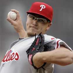 Philadelphia Phillies pitcher Vance Worley throws during the first inning of a baseball game against the Pittsburgh Pirates in Pittsburgh on Sunday, April 8, 2012.