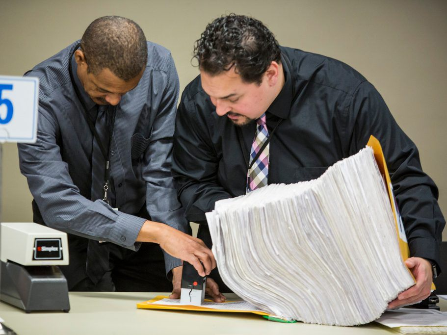 Election officials certify receipt of a petition for mayor on the first day of the filing period for Municipal Elections, Monday, November 19th, 2018. | James Foster/For the Sun-Times