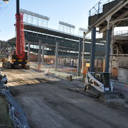 New vertical steel colums in right field -