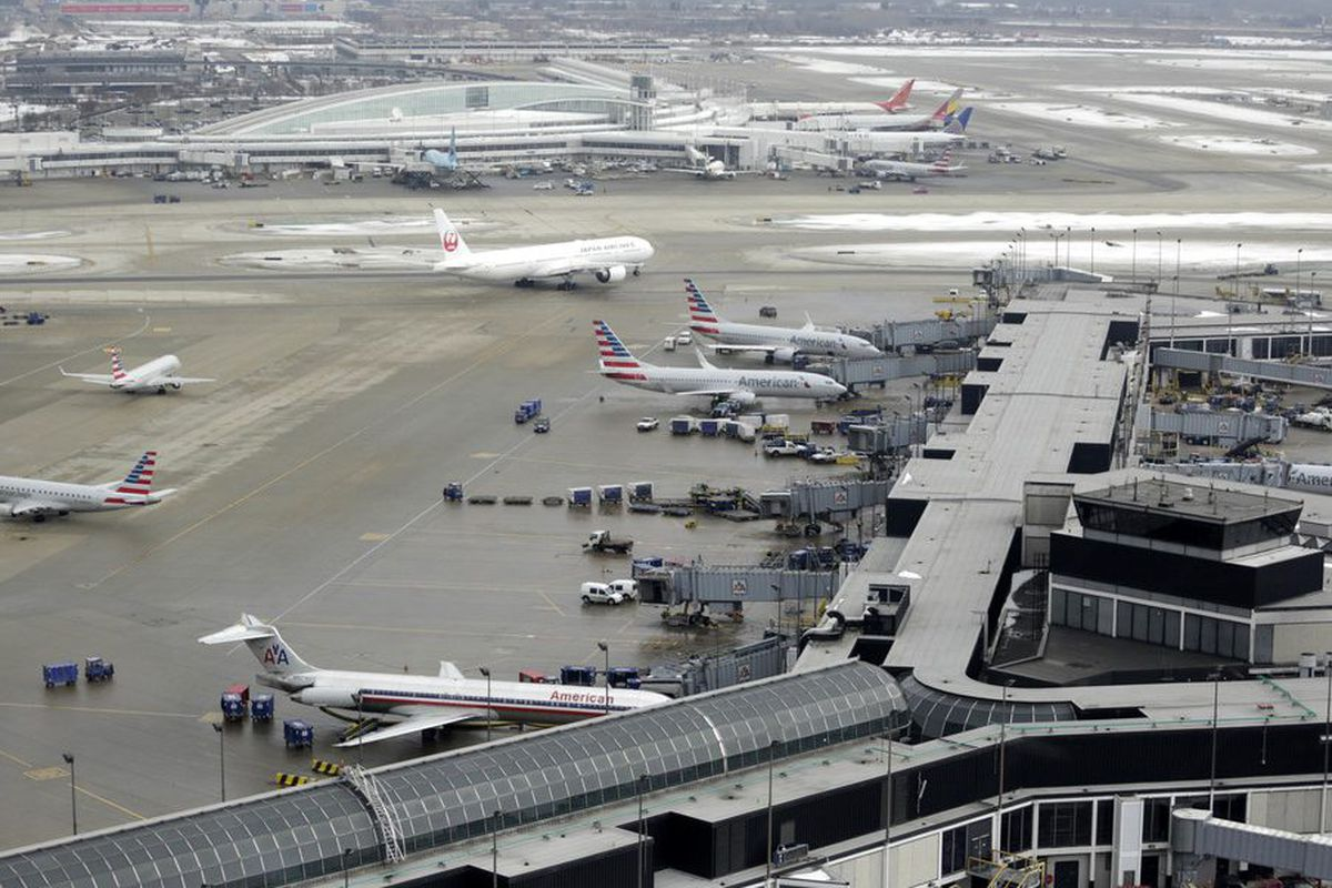 Ground traffic as seen from the control tower at O'Hare International Airport in Chicago. Runway 10 Center – 28 Center is in the background. AP/M. Spencer Green