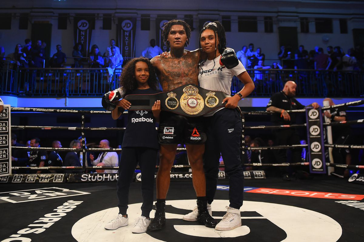Conor Benn celebrates with his family following his victory in the WBA Continental Welterweight Championship fight between Conor Benn and Jussi Koivula at York Hall on June 21, 2019 in London, England.