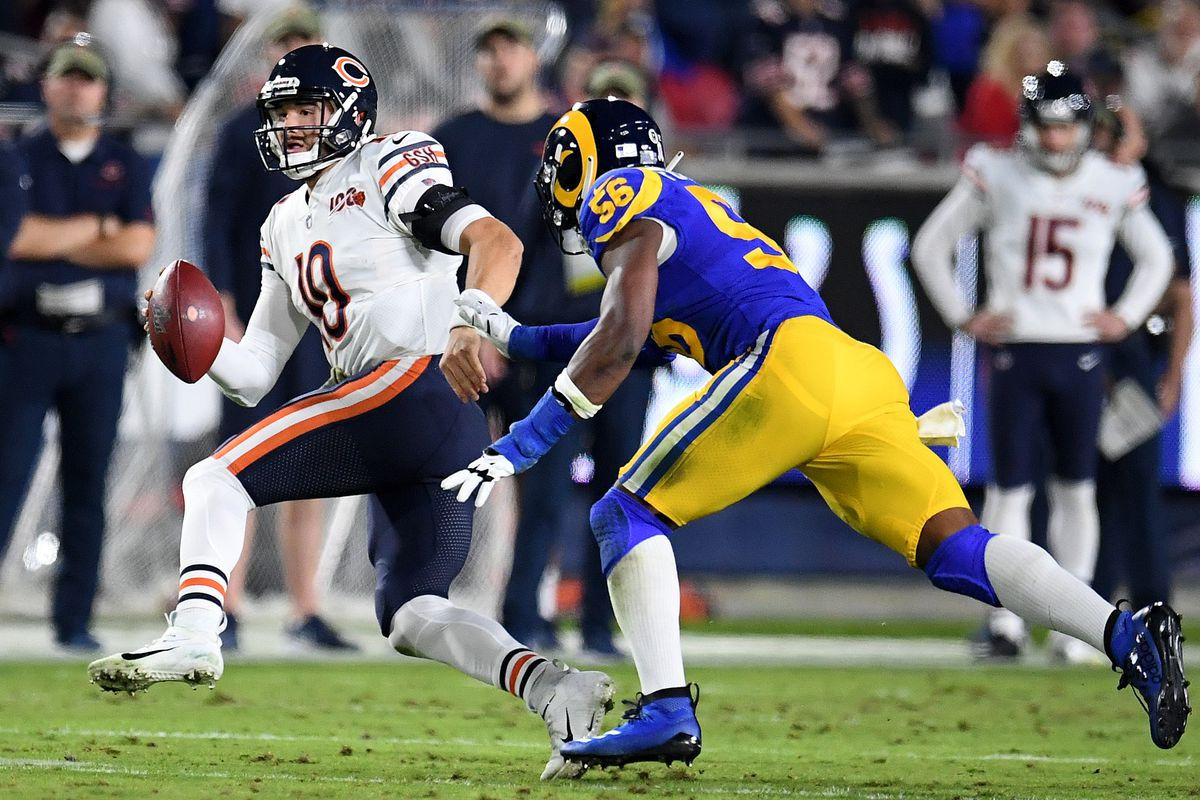 Defensive end Dante Fowler of the Los Angeles Rams pressures quarterback Mitchell Trubisky of the Chicago Bears in the first half of a NFL football game at the Los Angeles Memorial Coliseum on Sunday, November 17, 2018 in Los Angeles, California.