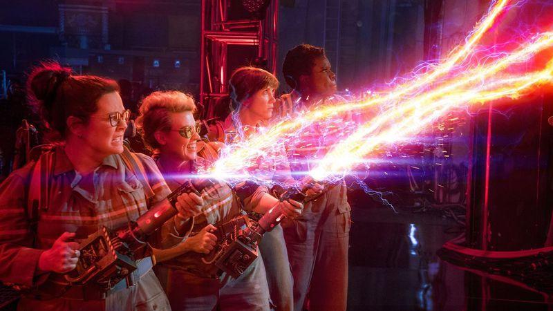 The Ghostbusters ladies firing pink laser-like guns.