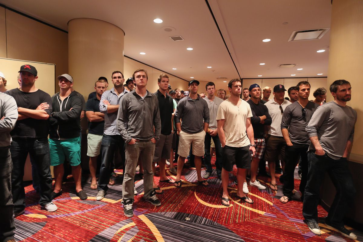 NHL players will be camping out in a hotel ball room while locked out. Nahhh, they'll all fly back to their multi-million dollar homes.  (Photo by Bruce Bennett/Getty Images)