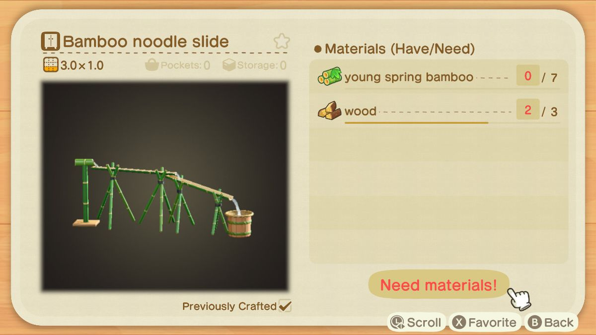An Animal Crossing crafting screen for a Bamboo Noodle Slide