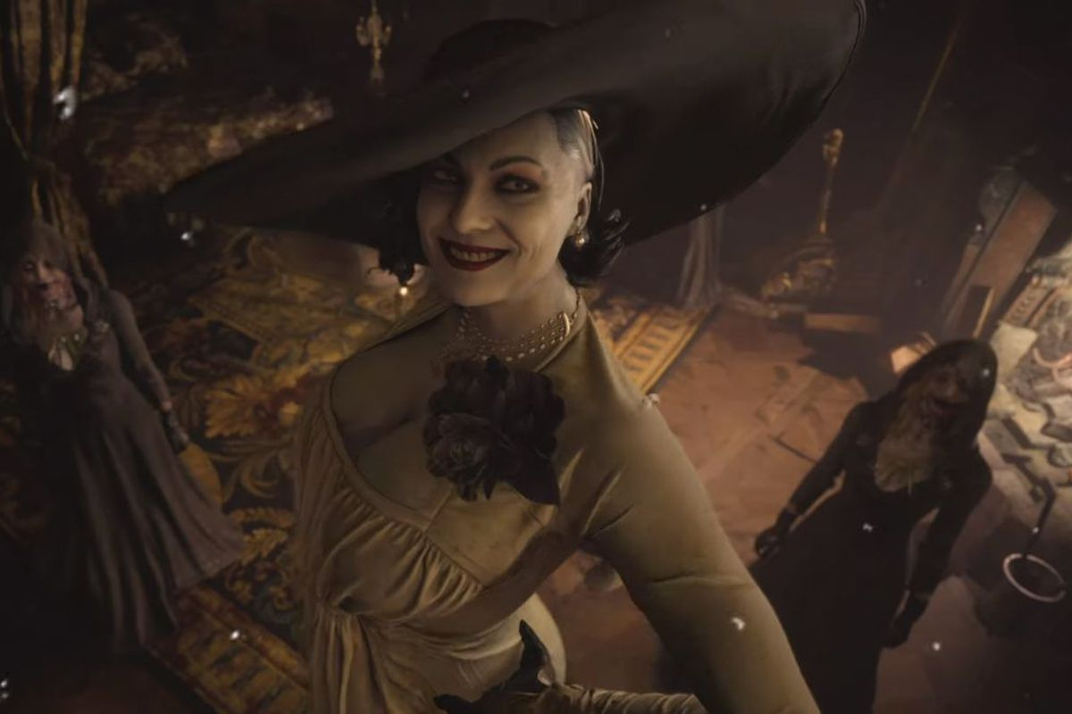 Resident Evil Village - a large woman with pale skin is posing on a staircase. She has a fabulous hat, a vintage dress, and a very sinister look to her.