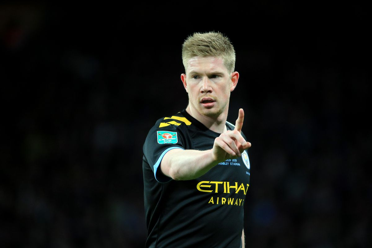 Kevin De Bruyne of Manchester City reacts during the Carabao Cup Final between Aston Villa and Manchester City at Wembley Stadium on March 01, 2020 in London, England.