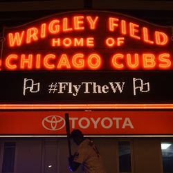 10:49 p.m. The marquee, after the game -