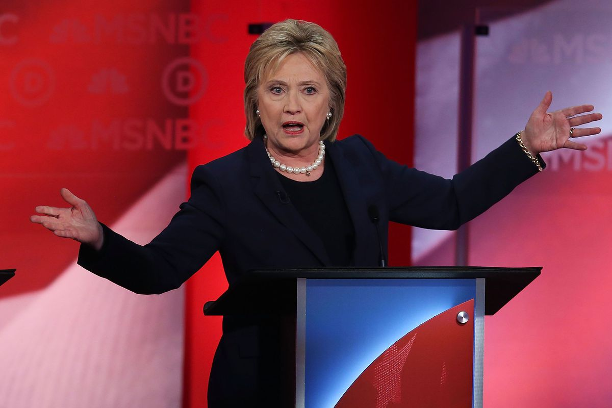 Hillary Clinton at the Democratic debate in New Hampshire.