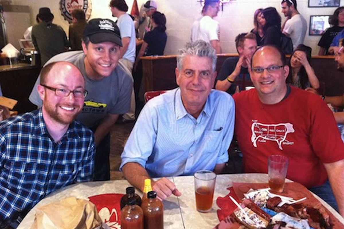 Anthony Bourdain with Daniel Vaughn (far right).