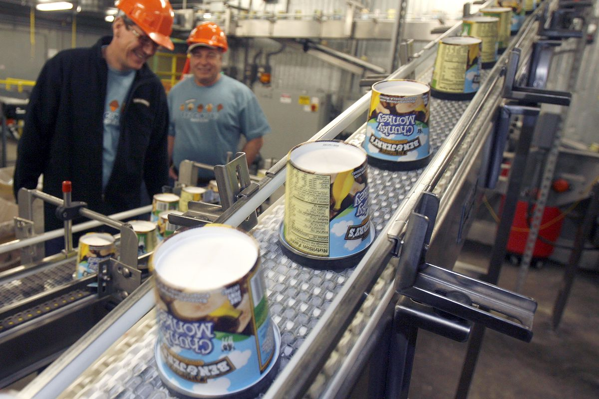 In this March 23, 2010 file photo ice cream moves along the production line at Ben & Jerry's Homemade Ice Cream, in Waterbury, Vt. Ben & Jerry's ice cream said Monday, July 19, 2021, it was going to stop selling its ice cream in the occupied Palestinian territories.
