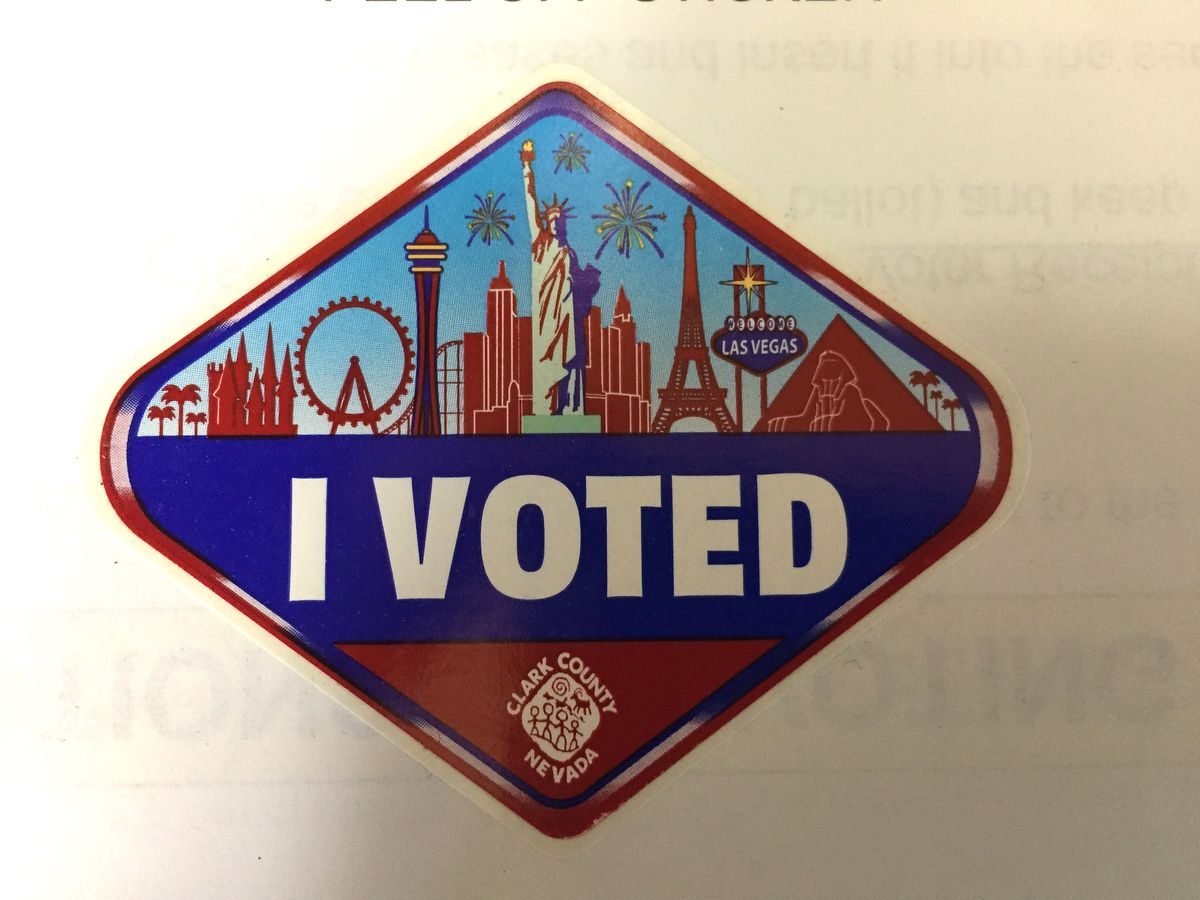 An I Voted sticker with the Las Vegas Strip on it