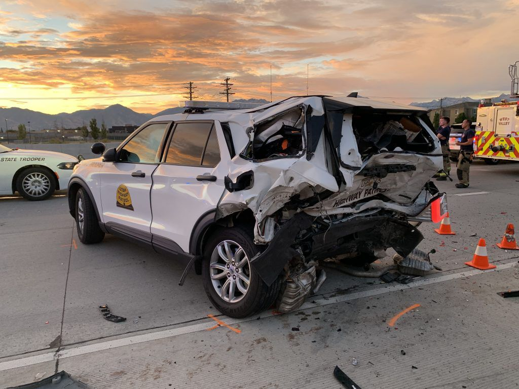 A Utah Highway Patrol sergeant and several other people were hospitalized after a crash on I-215 West on Sunday, Aug. 1, 2021.