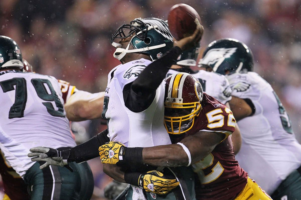 LANDOVER MD - NOVEMBER 15:  Michael Vick #7 of the Philadelphia Eagles is sacked by Rocky McIntosh #52 of the Washington Redskins on November 15 2010 at FedExField in Landover Maryland.  (Photo by Chris McGrath/Getty Images)