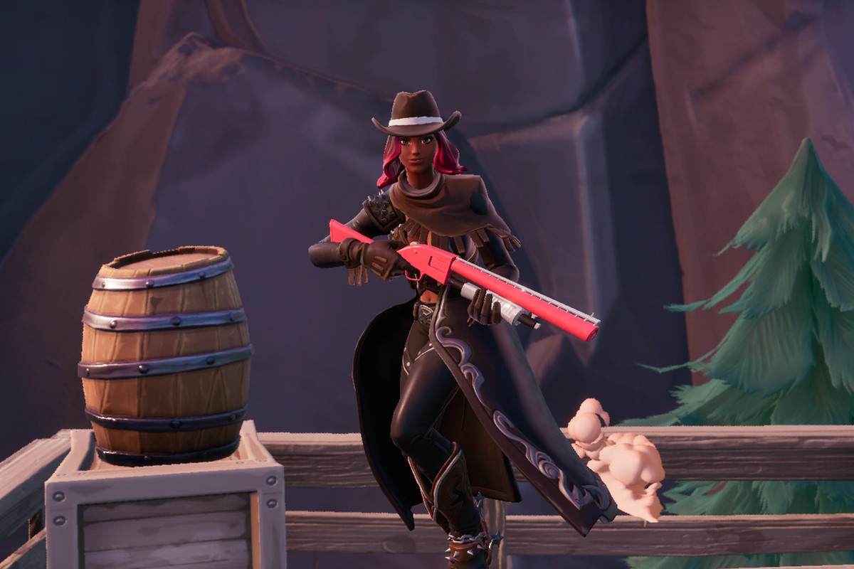 A Fortnite character dressed in Old West attire in Tilted Town