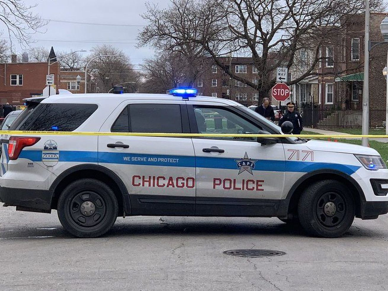 Chicago police investigate after three people were shot, two of them fatally, April 10, 2019, in the 3400 block of West Ohio Street.