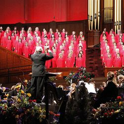 Director Mack Wilberg leads Mormon Tabernacle Choir and Orchestra at Temple Square in dress rehearsal of Pioneer Day Concert July 19, 2012.