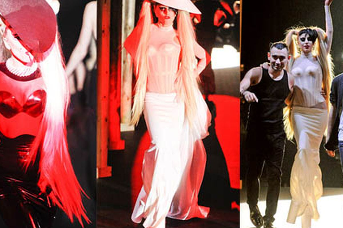 """True story: Gaga purchased every single piece in the collection after the show. Images via <a href=""""http://online.wsj.com/article/SB10001424052748703559604576176661933062864.html?mod=WSJ_LifeStyle_LifeStyleFashion"""">Wall Street Journal</a>"""