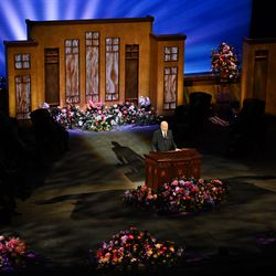 President Russell M. Nelson speaks during the morning session of the 191st Annual General Conference ofThe Church of Jesus Christ of Latter-day Saints in Salt Lake City on Saturday, on April 3, 2021.