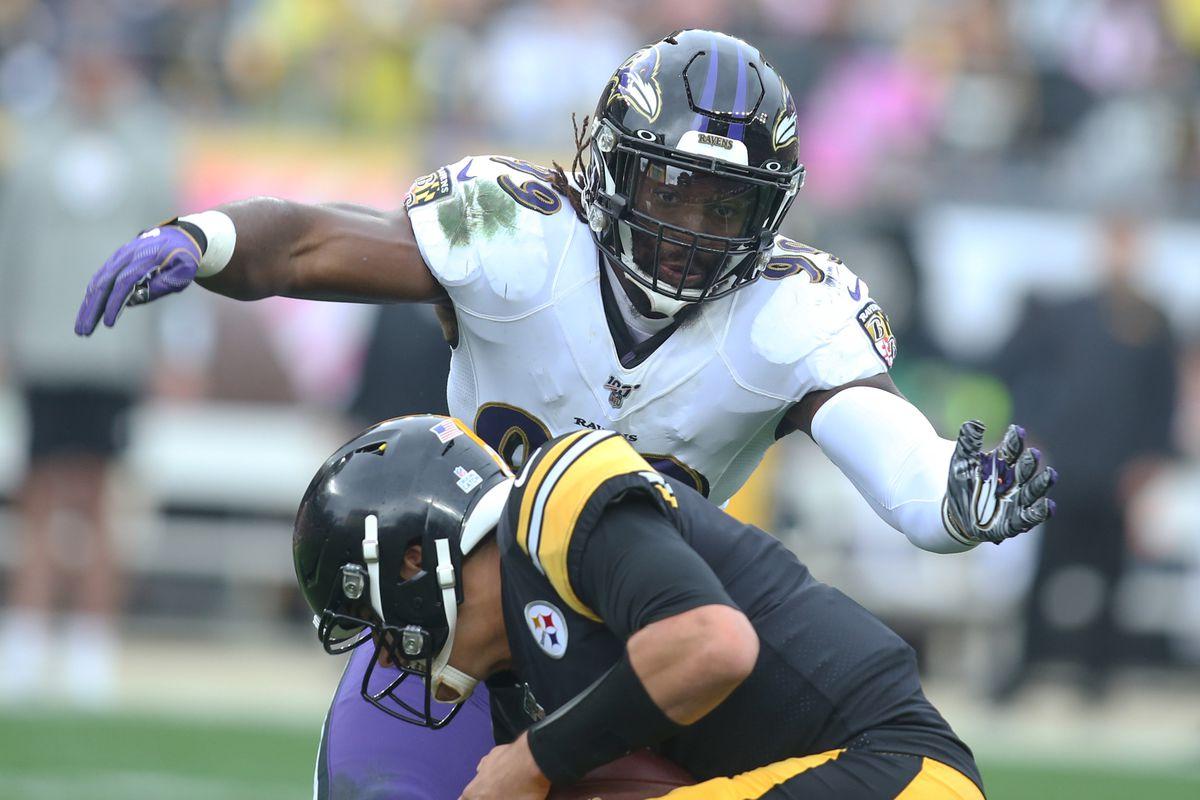 Baltimore Ravens outside linebacker Matt Judon sacks Pittsburgh Steelers quarterback Mason Rudolph during the second quarter at Heinz Field. The Ravens won 26-23 in overtime.