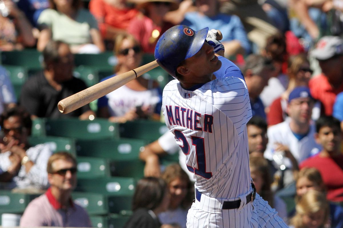 Joe Mather of the Chicago Cubs hits against the Pittsburgh Pirates at Wrigley Field in Chicago, Illinois.  (Photo by Tasos Katopodis/Getty Images)