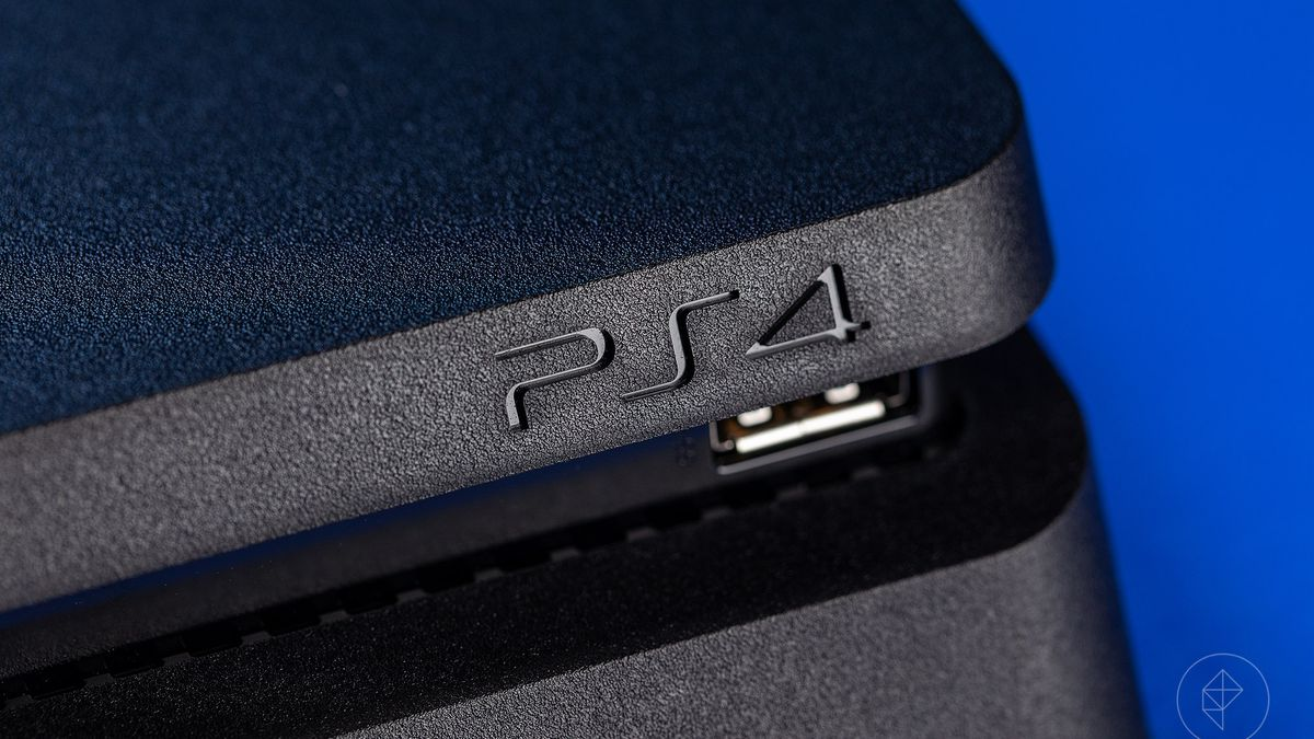 close-up of 'PS4' engraving on PlayStation 4 Pro