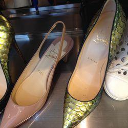 Louboutin pumps, size 7, $899 (were $1,406); Louboutin kitten heels, size 7, $419 (were $695)