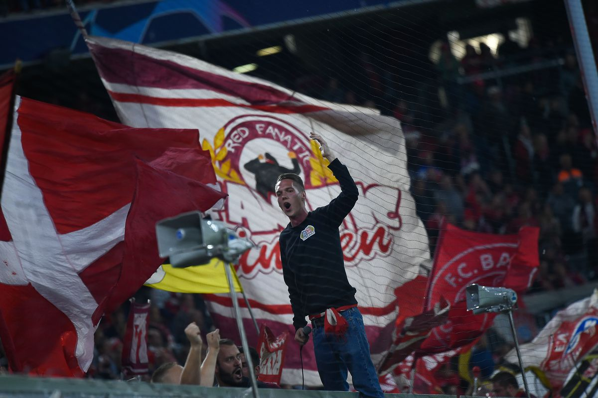 A Bayern supporter seen cheering during the UEFA Champions...