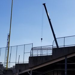 A large crane was on the field